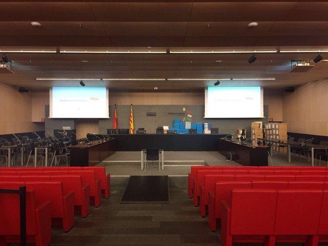 La sala en la que mañana empezará el juicio del caso Palau.