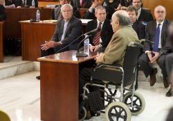 Felix Millet declarando con los imputados al fondo en el caso del  Hotel del Palau de la Música en 2014