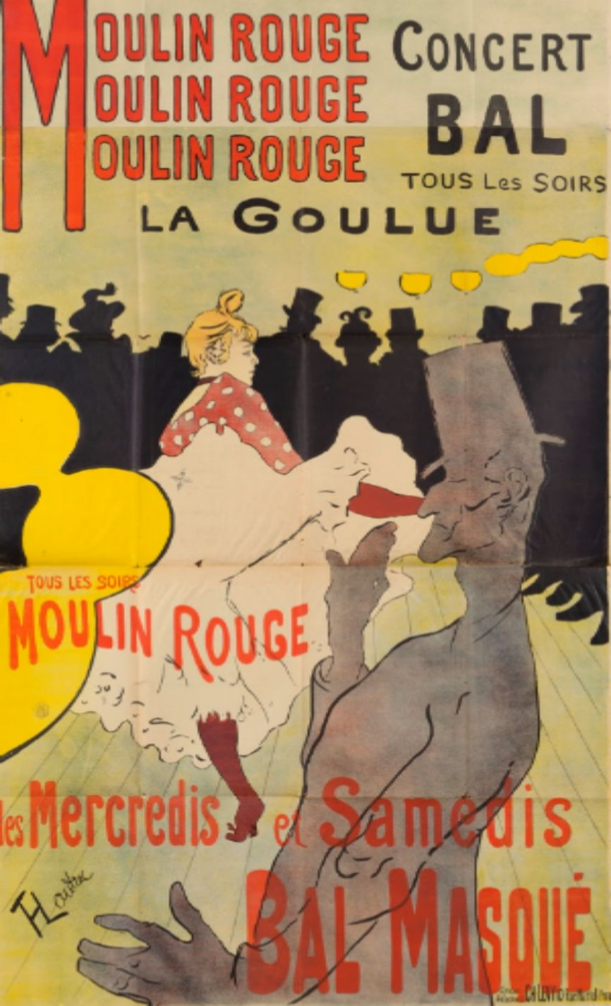 Cartel de la mítica sala de baile Moulin Rouge, litografía a...