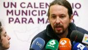 El secretario general de Podemos, Pablo Iglesias, realiza...