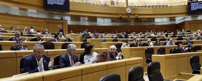 Vista general del Pleno celebrado hoy en el Senado.