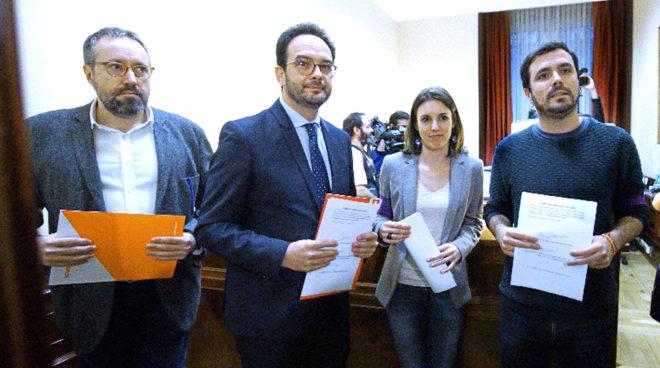 Girauta (Ciudadanos), Hernando (PSOE), Montero y Garzón (Unidos...