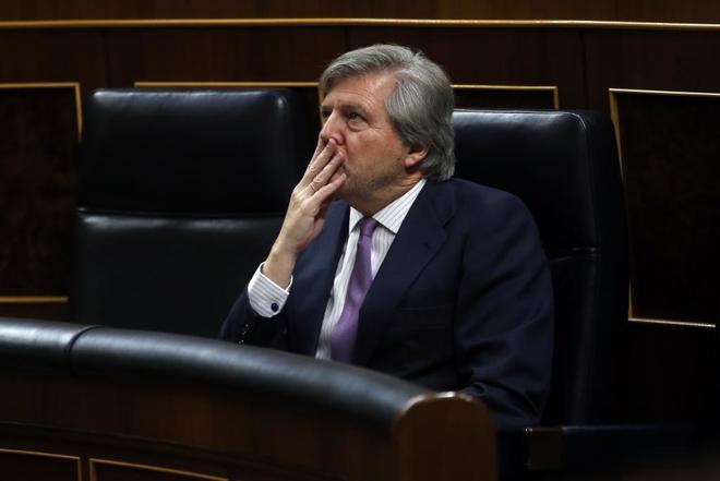 Íñigo Méndez de Vigo, esta mañana en el Congreso.