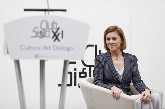 La ministra de Defensa, María Dolores de Cospedal, durante un...