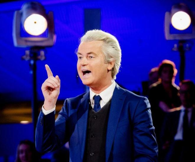 Geert Wilders, líder del partido ultraderechista holandés, durante el debate electoral televisado.