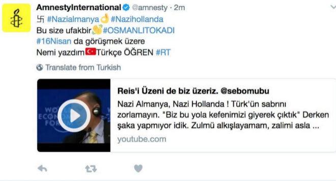 La cuenta de Amnistía Internacional amanecía con una esvástica.