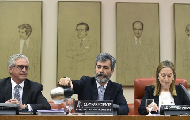 Carlos Lesmes, durante su comparecencia en la COmisión de Justicia...