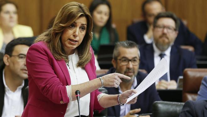 Susana Díaz, este jueves en el Parlamento de Andalucía.