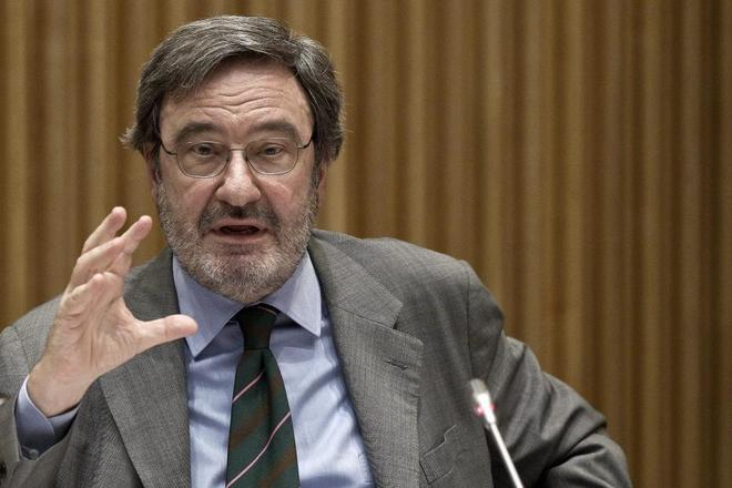 El ex presidente de Catalunya Caixa, Narcis Serra, durante su comparecencia en el Congreso.