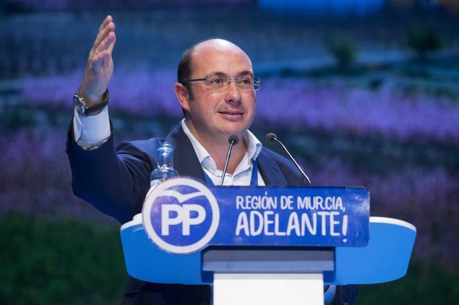 Pedro Antonio Sánchez, tras ser elegido presidente del PP de Murcia.