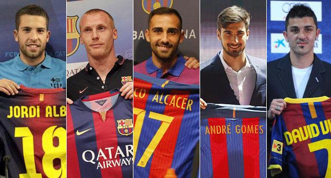 Presentaciones de Alba, Mathieu, Alcácer, Gomes y Villa.