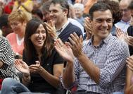 Núria Parlon y Pedro Sánchez, en un acto en Cataluña el año pasado