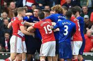 Los jugadores del United y el Middlesbrough, en un momento del partido.