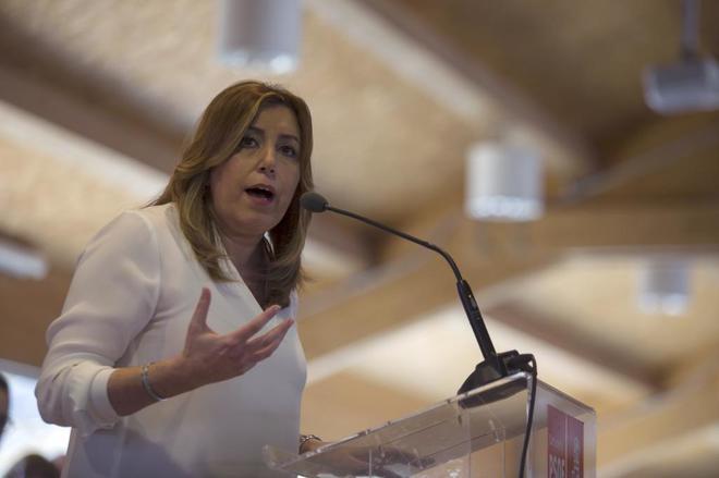 La presidenta de la Junta de Andalucía, Susana Díaz, el sábado, en un acto en Cartagena (Murcia).