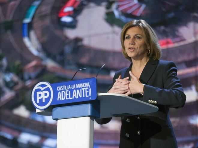 María Dolores de Cospedal, el sábado, en el congreso regional del PP...