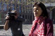 Clara Millet, hija del ex presidente del Palau de la Música Fèlix Millet, a su salida de la Ciutat de la Justicia