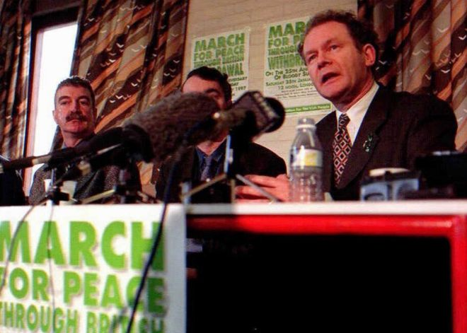 Rueda de prensa de McGuinness en el 25 aniversario del Domingo Sangriento.