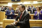 El presidente del Gobierno, Mariano Rajoy, hoy, en el Senado.