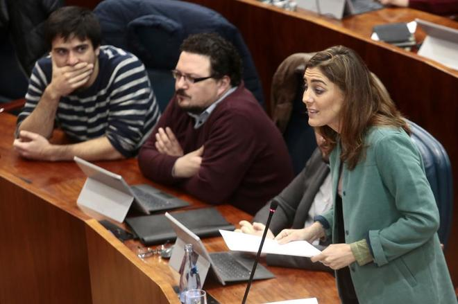 Lorena Ruiz-Huerta, portavoz de Podemos, en la Asamblea de Madrid.