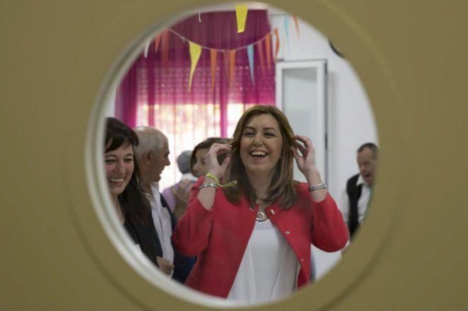 La presidenta de la Junta de Andalucía, Susana Díaz, durante una...