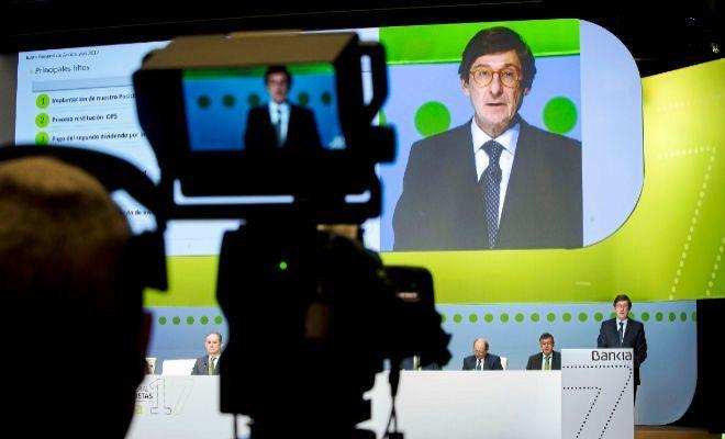 El presidente de Bankia, José Ignacio Goirigolzarri, durante su intervención en la junta de accionistas celebrada ayer en Valencia.