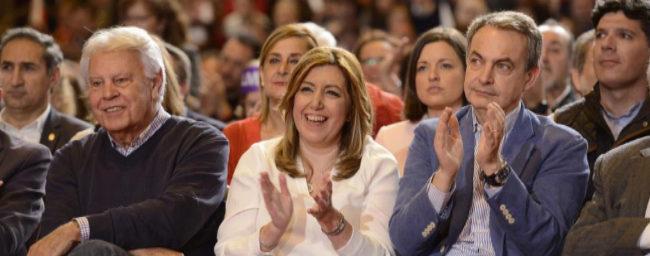 Felipe González, Susana Díaz y José Luis Rodríguez Zapatero.