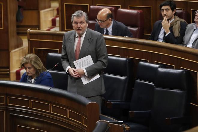 El ministro de Educación y Cultura, Íñigo Méndez de Vigo, hoy, en el Congreso de los Diputados