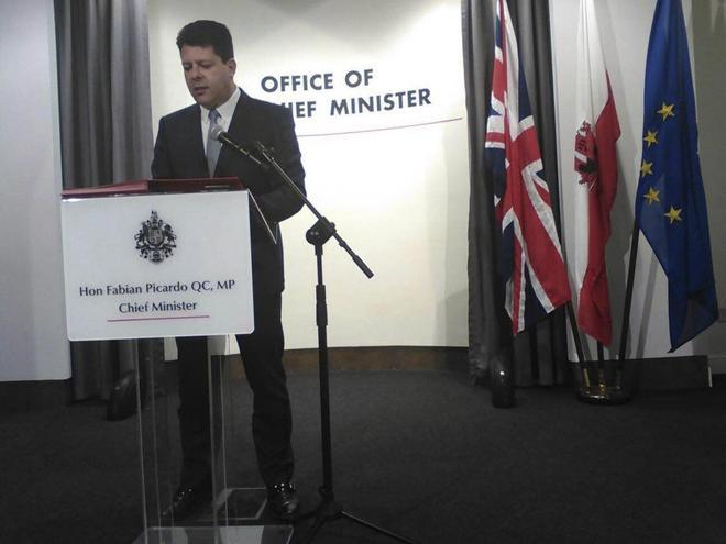 El ministro principal del peñón de Gibraltar Fabián Picardo en una...