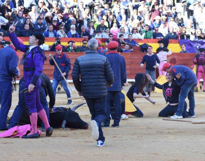 Antitaurinos en la plaza de toros de Castellón durante las fiestas de la Magdalena este año.