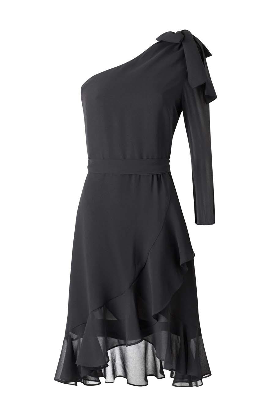 Vestido negro de mango