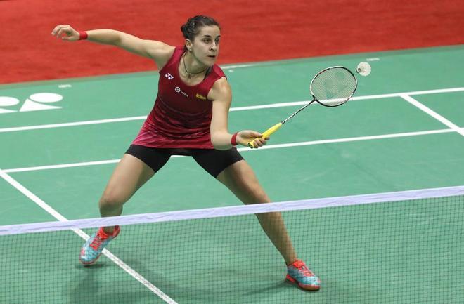 Carolina Marin, en acción ante Sindhu, durante la final.