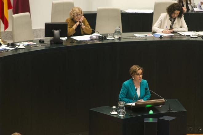 La portavoz del PSOE en el Ayuntamiento de Madrid, Purificación Causapié, en el Pleno.