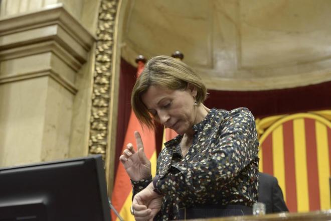 La presidenta del Parlament, Carme Forcadell, durante un pleno.