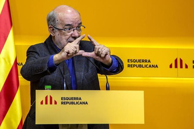 El eurodiputado de ERC Josep-Maria Terricabras, en rueda de prensa en...