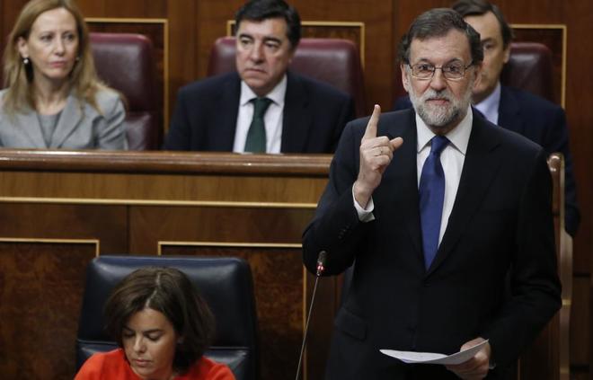 Mariano Rajoy, durante la sesión de control en el Congreso de los Diputados.