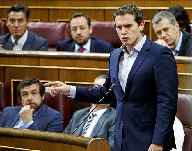 Albert Rivera, ayer en el Congreso, durante la sesión de control al...