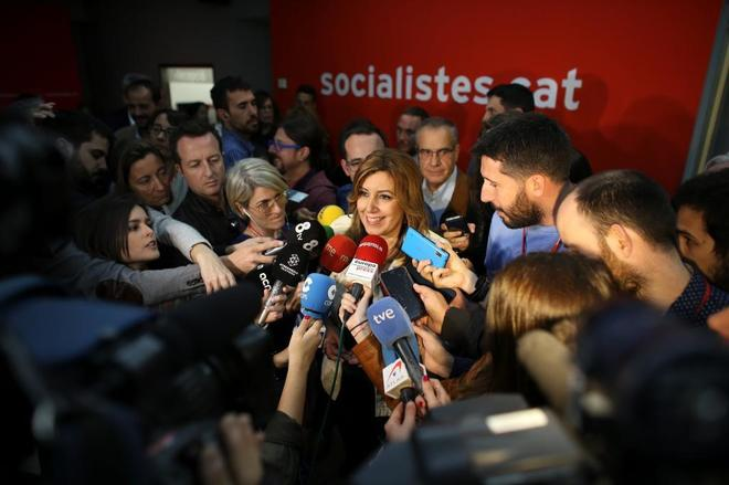 La precandidata a dirigir el PSOE y presidenta de Andalucía, Susana...