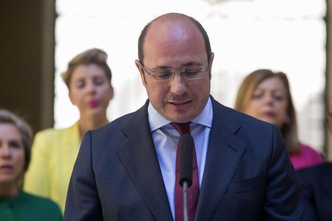 Pedro Antonio Sánchez, el pasado martes durante su comparecencia para...