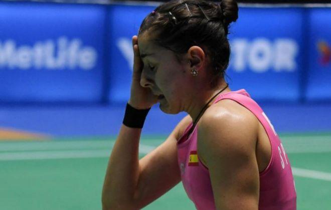 Carolina Marín, durante las semifinales en el Gran Slam de Malasia.