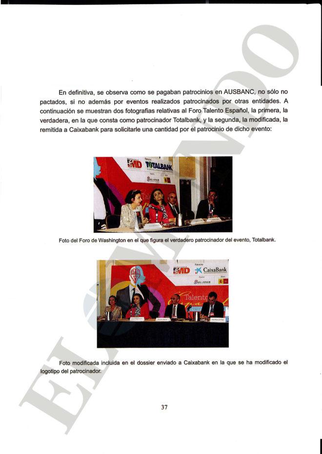 Extracto del informe de la Udef con foto manipulada remitido al juez.