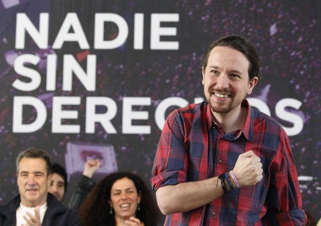 El secretario general de Podemos, Pablo Iglesias, en un acto celebrado...