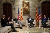 Carles Puigdemont y Raül Romeva, con los congresistas de EEUU que...