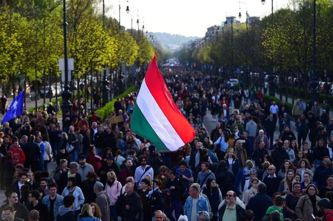 Manifestación en Budapest contra las leyes del Gobierno de Viktor...