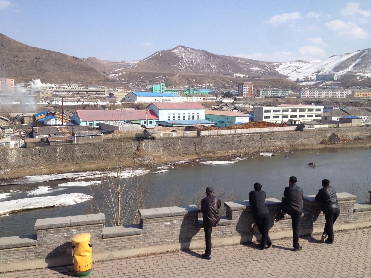 Vista desde el mirador en la frontera de China con Corea del Norte.