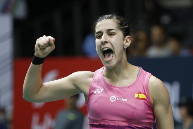 Carolina Marín celebra una victoria en el torneo de Singapur.
