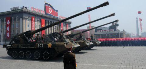 Gran desfile militar en Corea del Norte.