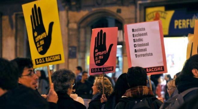 Manifestación contra la xenofobia en Barcelona.