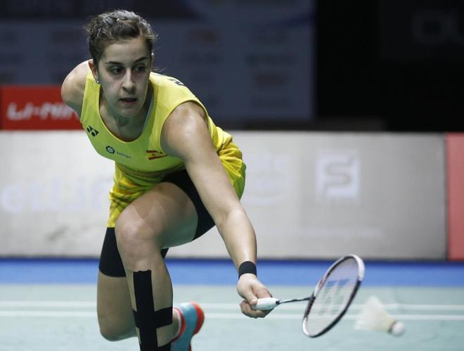 Carolina Marín, en la final del Super Series Singapur, este domingo.