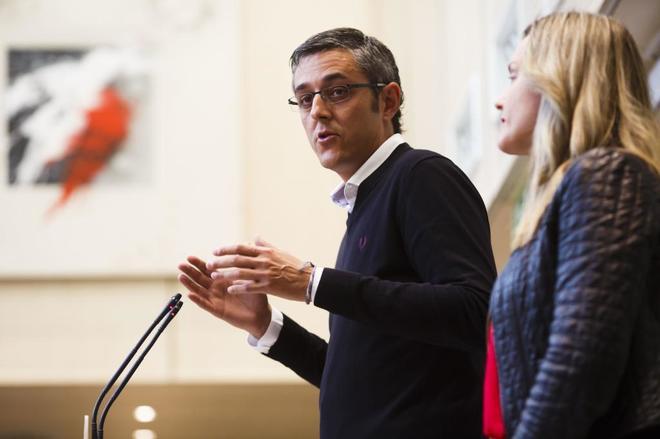 Eduardo Madina y Pilar Alegría, en la presentación de la candidatura de Susana Díaz.