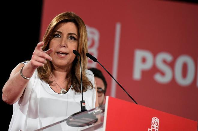 Susana Díaz durante el acto celebrado hoy en Alcalá de Henares.